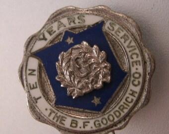 BIGGEST SALE of the Year B.F. Goodrich 10 Years Service Award Pin Sterling & Enamel Vintage Jewelry Jewellery