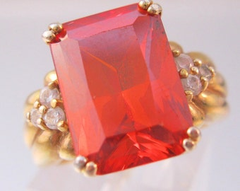 6ct Reddish Orange CZ Solitaire w/Accents Ring Sterling Vermeil Size 7 Vintage Jewelry Jewellery