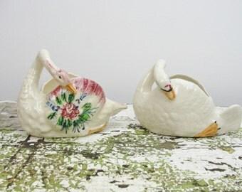Vintage Swans set of 2, small swan planters, vintage swan trinket dishes, swan wedding cake topper