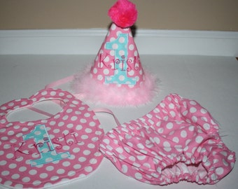 first birthday outfit for girls, girls 1st birthday outfit, cake smash outfit , pink and aqua blue, 1st birthday hat, bib, diaper cover