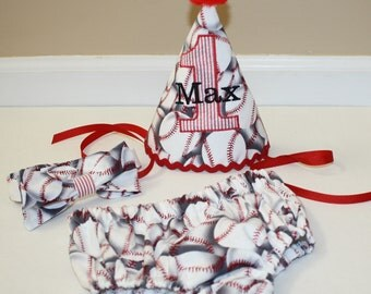 baseball birthday outfit, boy first birthday party outfit, cake smash outfit, red and black 1st birthday,  boys diaper c