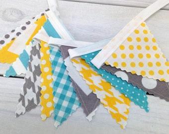 Bunting Banner Mini, Fabric Banner, Fabric Flags, Baby Nursery Decor, Birthday Decoration - Gray, Yellow, Grey, Aqua Blue, Chevron, Dots