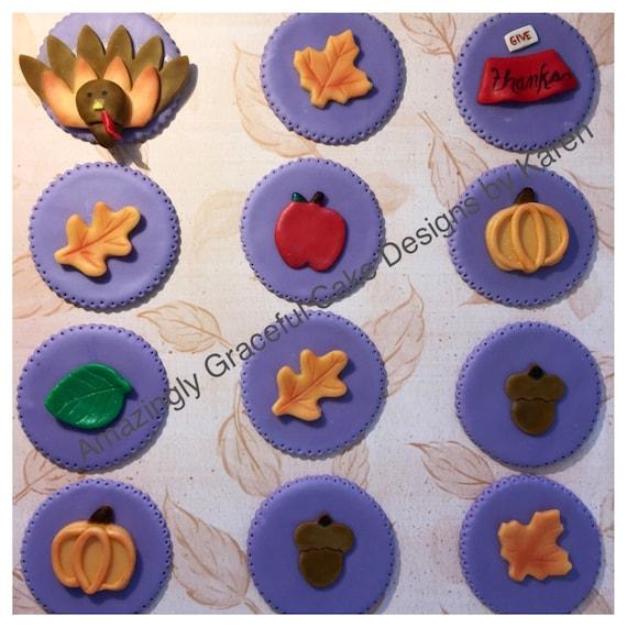 Edible Cake Images Thanksgiving : Thanksgiving Fondant Cupcake Toppers Thanksgiving Wikii