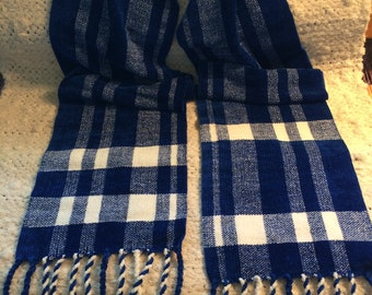 Blue and White Striped Chenille Scarf