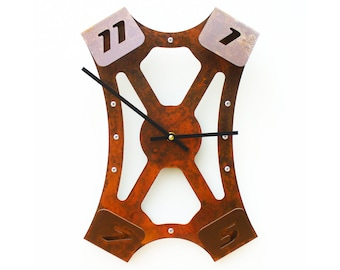 Folding Over III, Medium Wall Clock, Rusted Wall Clock, Rustic Wall Clock, Unique Wall Clock, Modern Wall Clock, Steampunk Wall Clock