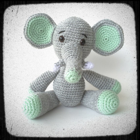 Crochet Amigurumi Elephant Ears : Big Ears Elephant in Amigurumi Crochet style Grey and Green