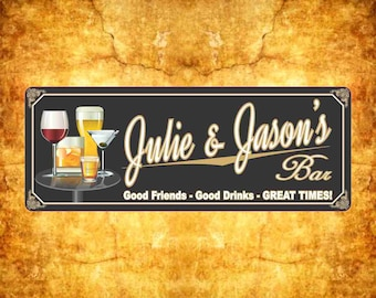 Elegant Mixed Drink Personalized Bar Sign with Wine Glass, Martini and Beer, Custom Bar Sign, Bar Decor, Bar Gift C1019