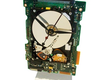 FREE SHIPPING! Laptop Hard Drive on a Circuit Board Clock, Unique, Awesome Combination.