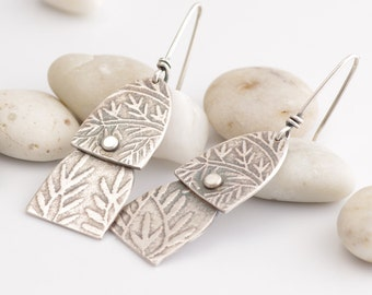 Patterned Layered Silver Earrings