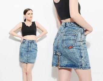 Vintage 80s JORDACHE Jean Skirt Acid Wash Tight Fitted Denim Skirt Rear Bow + Zipper Slit Small XS S