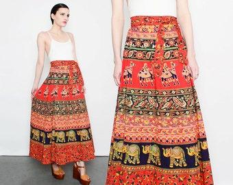 90s does 70s Ethnic Wrap Skirt INDIA Elephant Novelty Print Bohemian Hippie Maxi Skirt M L