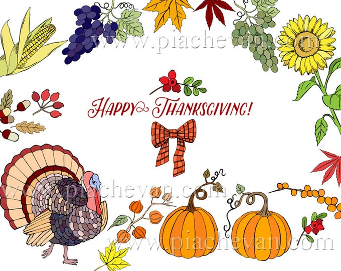 Digital Clipart with Thanksgiving Decorations. clip art, pumpkins, hat, horn, grape, maple, corn, harvest