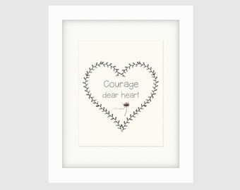 """Instant Download, Literary Quote Poster,  Original Typography Poster, Decorative Wall Décor, C. S. Lewis Quote  – """"Courage Dear Heart"""""""