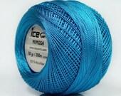 Cerulean Blue Mimosa Size 10 Microfiber Crochet Thread - Ice 39159 - 50 gram 273 yds - Bedspread, Needlepoint, Cross Stitch, Fiber Jewelry