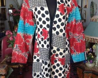 Kantha Vintage Textile Coat Size Small