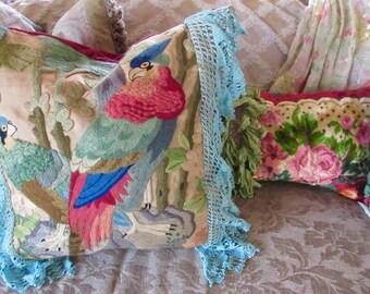 Large, Vintage Boho, Shabby Gypsy Chic Pillow, Vintage Velvet, Needlework Embroidery Parrots