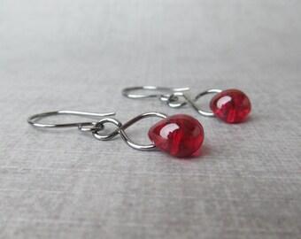 Fuchsia Glass Drop Earrings, Fuchsia Pink Dangles, Pink Fuchsia Earrings, Dark Silver Infinity Earrings, Oxidized Sterling Silver Earrings