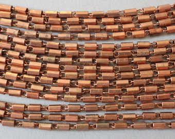 Vintage Copper Plated Tube Chain