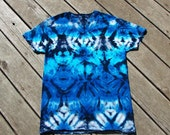 Foggy Blue Sky Totem Blotter Tie Dye Tee - Adult (Medium) V-Neck Undershirt