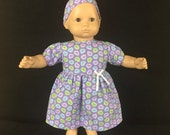 Doll Clothes for Bitty Baby Girl Dolls or Bitty Twin Girl Dolls, Floating Purple Green Blue Hearts Valentine's Dress