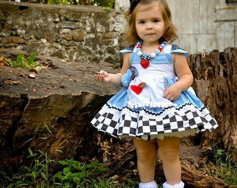 Alice in Wonderland Flutter Costume Dress Twirly Boutique Apron Dress Halloween