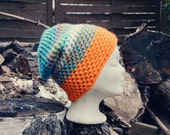 Urban Camouflage Slouchy Beanie  - hand crochet mulicolored chunky hippie boho style
