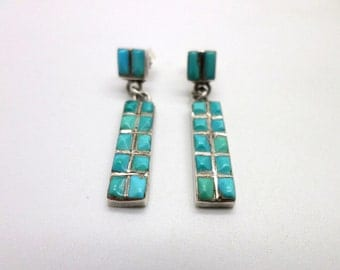 SALE Turquoise and Silver Thin Dangle Earrings Corn Row Cobblestone Vintage Southwest Native American Style Pretty Stones