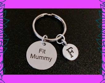 Mum fitness gift, Fit Mummy gift key chain, mom fitness keyring, personalised gym fitness jewelry, custom letter charm gift UK