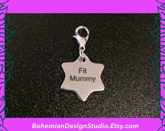 Fitness bracelet clip charm, fit mummy charm, buggy fitness bootcamp gift, custom made star women fitness charm, motivational charm,UK