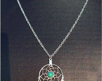 SALE Dream catcher necklace in silver with Turquoise and three feathers