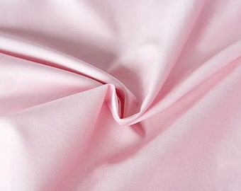 Pink organic cotton sateen. 100% Organic Certified Cotton GOTS in pink. Pink flower girl dresses fabric for wedding. Cotton by the meter.