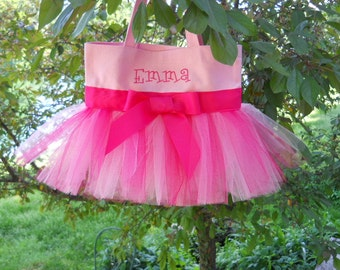 Embroidered Dance Bag, Pink Tote Bag, Embroidered tote bag, ballet bag, dance bag, tutu dance bag, Tutu Tote Bag  TB135 - D