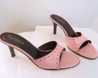 Womens Vintage Sandals Slide Mules Rockabilly Pin Up Bellofatto Leather size 7 Made in Italy