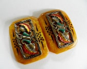 Enameled Brass on Plastic Vintage Buckle or Clasp