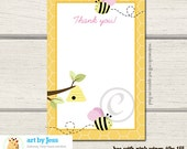 Bumble Bee Pink Wings Flat 4x6 Thank you card INSTANT DOWNLOAD bs-155