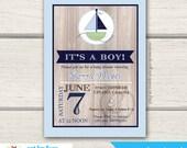 Rustic Sailboat Boy Baby Shower Invitation / Nautical Boat Green Blue Modern / Printed or Printable
