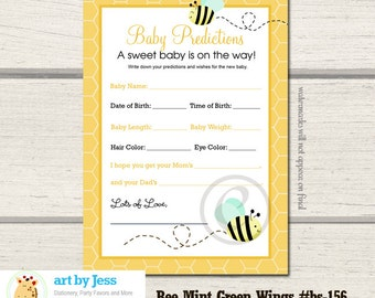 Mint Green Bumble Bee Wings boy or girl gender neutral Shower Prediction Card Baby Shower Game Printable PDF INSTANT DOWNLOAD bs-156