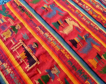 Vintage Woven Ethnic Guatemalan Red Fabric