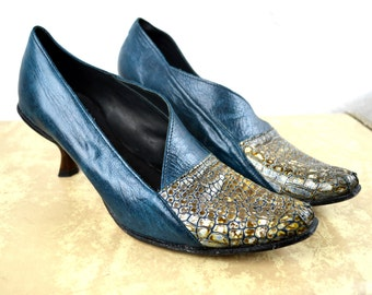 Cydwoq Shoes -Blue Mini Heels - Leather - Women's Size EUR 37 1/2