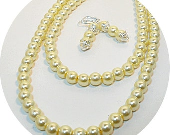 Yellow Pearls, Double Strand Necklace and Earrings, Bridal Jewelry Pale Yellow Pearls 2 Strand Necklace Necklace and Earrings Wedding Pearls