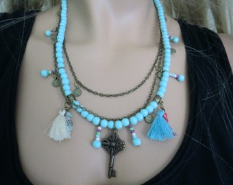 Larimar blue boho necklace with tassels and chains Holiday fashion idea,,great gift