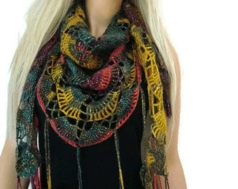 Earthy Colors Bohemian scarf, Mustard,Green, Berry, Red  Crochet lace scarf with fringes-Handmade-Introductory price