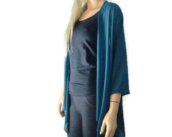 Teal Boho Kimono/ Kimono cardigan-Solid Teal,green/blue  chiffon kimono-Sophisticated Teal Great for weddings and bridesmaids