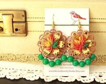 Autumn Leaf Earrings - Chandelier Earrings - Fall Fashion