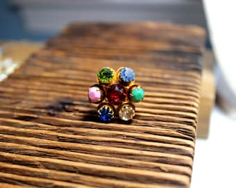 Cocktail Ring - Statement Ring - Multicolor Rhinestone Ring - Adjustable