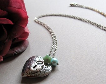 Silver Heart Locket, Antique Silver, Padlock Key Charm, Locket Necklace, Vintage Style Aqua Necklace - SWEET BLISS