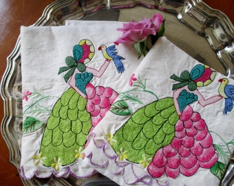 Vintage Embroidered Pillow Cases with Southern Belle, Standard Size Pillow Cases, vintage linens, Linen fabric, Cottage Chic