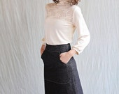 Pocket Skirt, Black Organic Cotton Denim, Aline, pocket- made to order