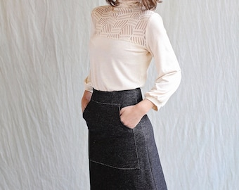 Pocket Skirt, Black Organic Cotton Denim, Aline- made to order