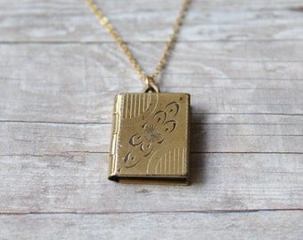 Vintage Gold Locket, Rectangle Locket, Gold Locket, Vintage Locket